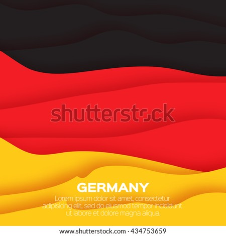 Germany flag. Origami paper cut vector illustration