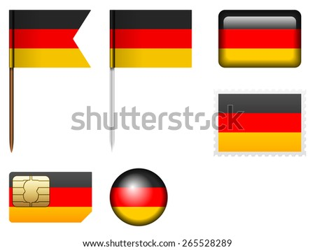 Germany flag set on a white background. - stock vector
