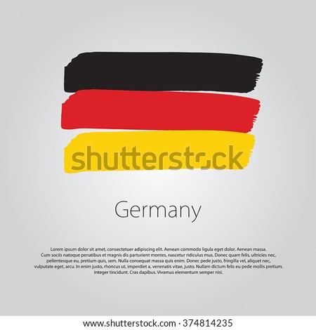 Germany Flag with colored hand drawn lines in Vector Format - stock vector