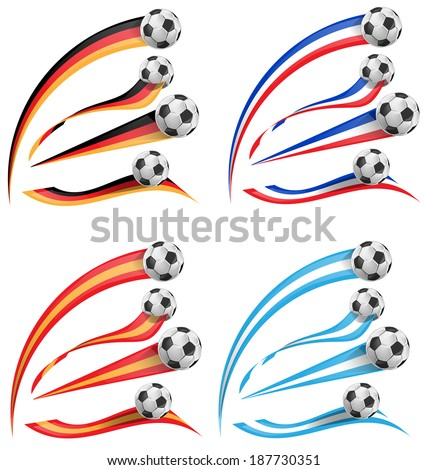 germany, greece, france, spain flag set with soccer ball - stock vector