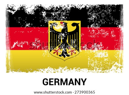 Germany grunge flag isolated vector in official colors and Proportion Correctly. country's name label in bottom - stock vector