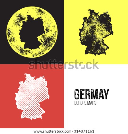 Germany Grunge Retro Map - Three silhouettes Germany maps with different unique letterpress vector textures - Infographic and geography resource - stock vector
