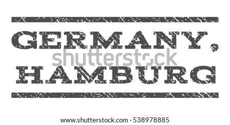 Germany, Hamburg watermark stamp. Text caption between horizontal parallel lines with grunge design style. Rubber seal stamp with scratched texture.