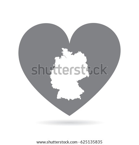 Heart Shape Icon On Plain White Stock Vector Shutterstock - Germany map shape