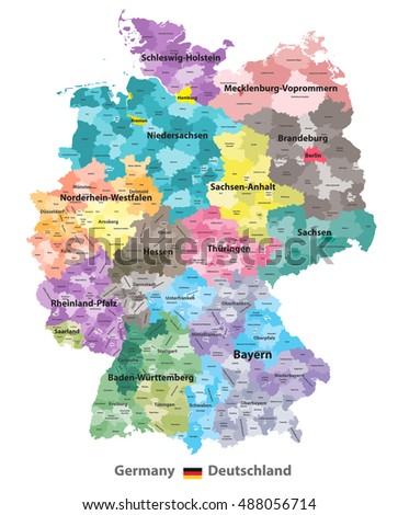 Germany High Detailed Map Colored By Stock Vector 488056714