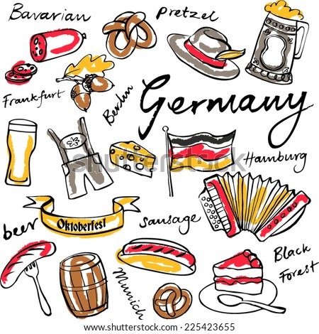 Germany icons doodle set