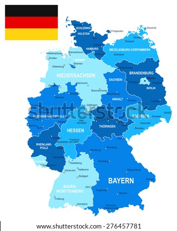 Germany map and flag - illustration Image contains next layers: - land contours - country and land names - city names - water object names - flag  - stock vector