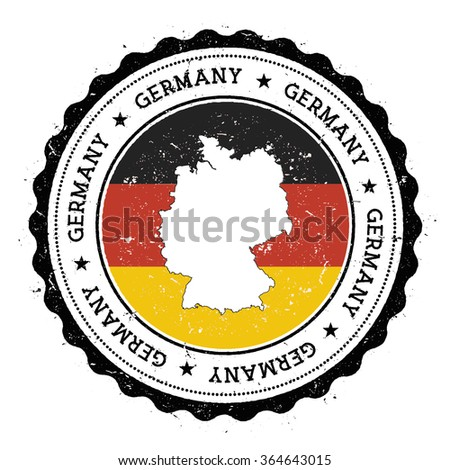 Germany map and flag in vintage rubber stamp of country colours. Grungy travel stamp with map and flag of Germany, vector illustration - stock vector