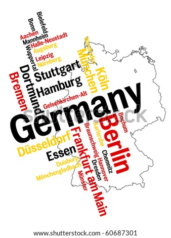 Germany map and words cloud with larger cities - stock vector