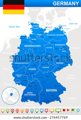 Germany Map Stock Vector Shutterstock - Germany map cities in english