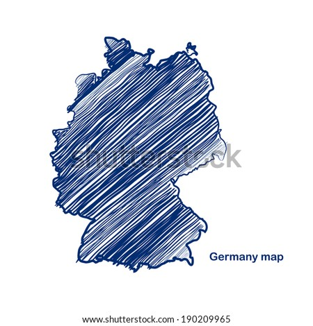 Germany map hand drawn background vector,illustration - stock vector
