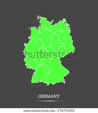 Germany map outlines in highlighted grey background, vector map of Germany in highly contrasted design for brochure template, tourist map, advertisement, web page design, science and education uses - stock vector