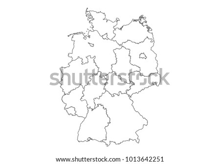 germany map with country borders thin black outline on white background high detailed vector