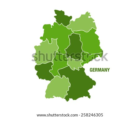 Germany map with regions - stock vector