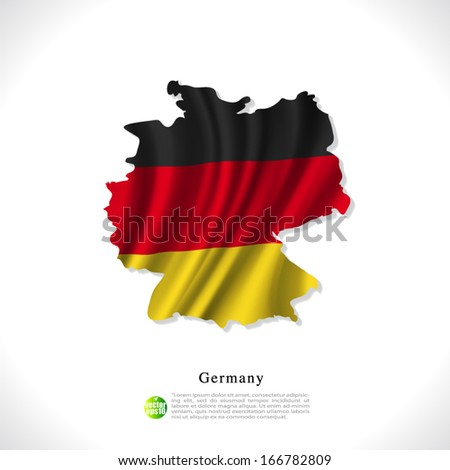 Germany map with waving flag isolated against white background, vector illustration