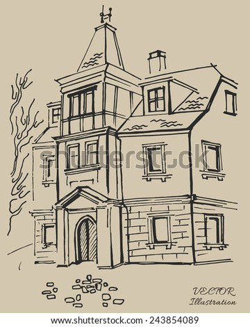 Germany, old town architecture, vintage engraved illustration. Hand drawn sketch. - stock vector