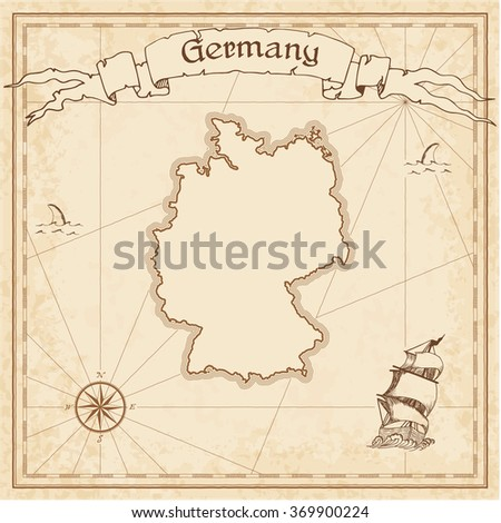 Germany Old Treasure Map Sepia Engraved Stock Vector - Germany map template