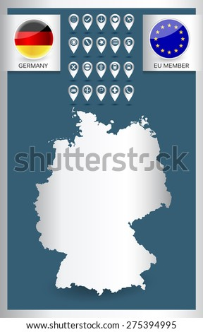 Germany outline map with navigation icon set and national flag icon. Metallic color stylized. - stock vector