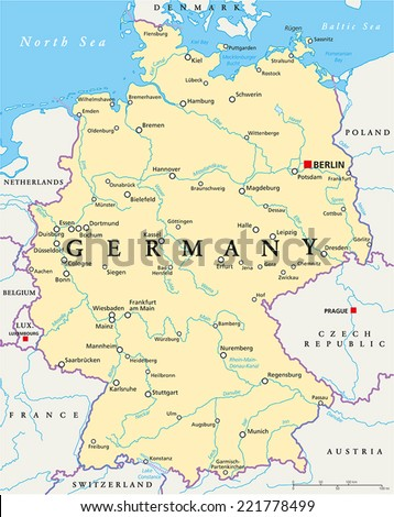 Germany Political Map with capital Berlin, national borders, most important cities, rivers and lakes. English labeling and scaling. Illustration. - stock vector