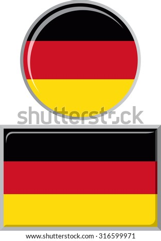Germany round and square icon flag. Vector illustration Eps 8.