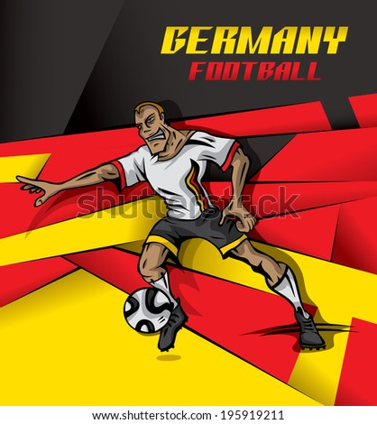 Germany Soccer Player, football ball, German Flag Background (vector Art)