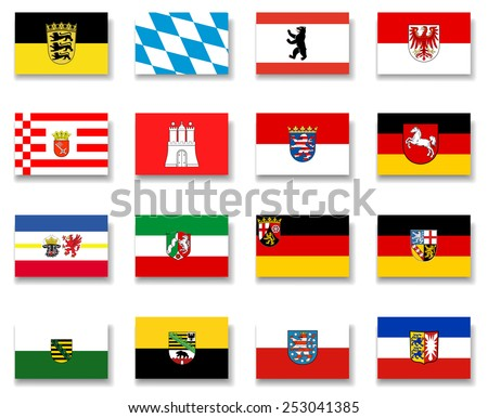 Germany States Flag Collection-Complete - stock vector