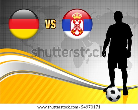 Germany versus Serbia on Abstract World Map Background Original Illustration - stock vector