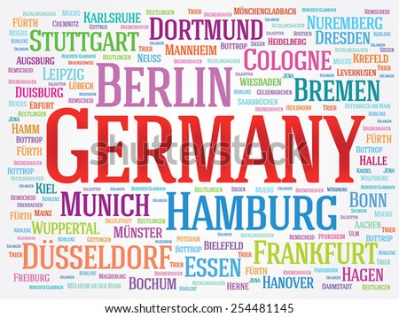 Germany word cloud concept. List of cities in Germany - stock vector