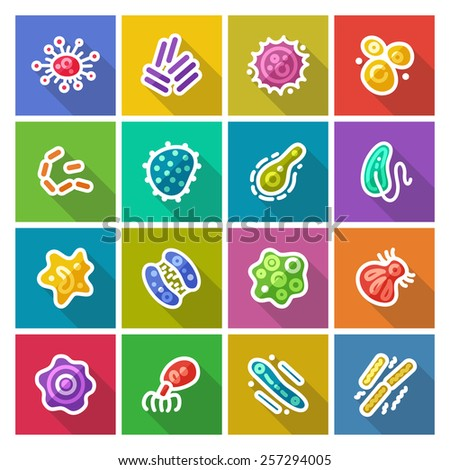 Germs and Bacteria Flat Icons Set for Medical Design. Isolated on White Background. - stock vector