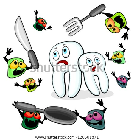 Germs attacking teeth - stock vector