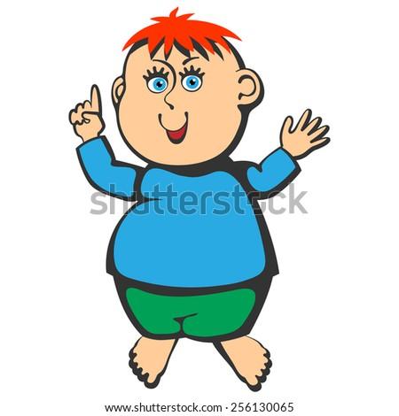 Gesticulating barefoot baby boy. - stock vector