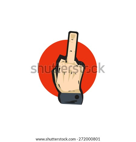 Gestural language middle finger. isolated Vector art illustration - stock vector