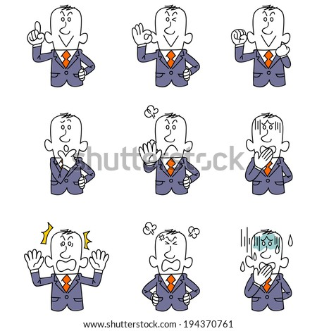 Gesture and pose of nine businessmen - stock vector