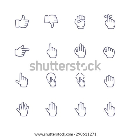 Gesture icons - stock vector