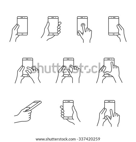 Gesture icons for smart phones. Simple outlined vector icon set for a mobile app user interface or manual. Linear style - stock vector