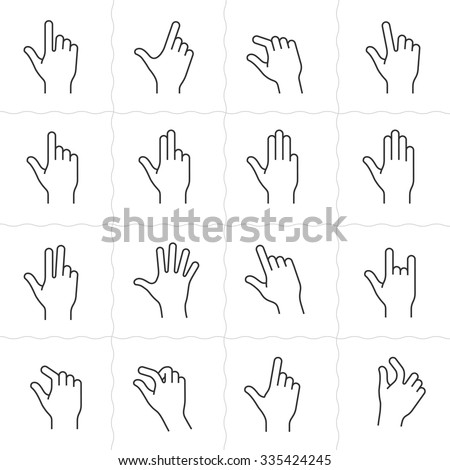 Gesture icons for touch devices. Simple outlined vector icon set for a mobile app user interface or manual. Linear style - stock vector
