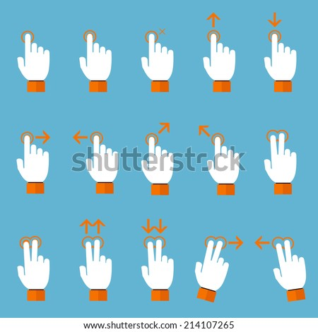 Gesture icons for touch devices,vector illustration - stock vector