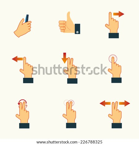 Gesture icons for touch devices vector set - stock vector