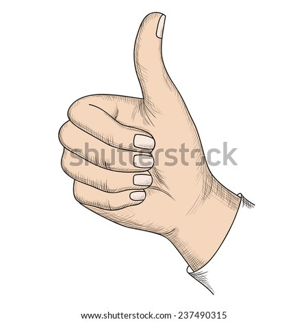 Gesture, isolated on white background. Vector illustration. - stock vector
