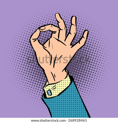 gesture sign okay pop art comics retro style Halftone. Imitation of old illustrations - stock vector