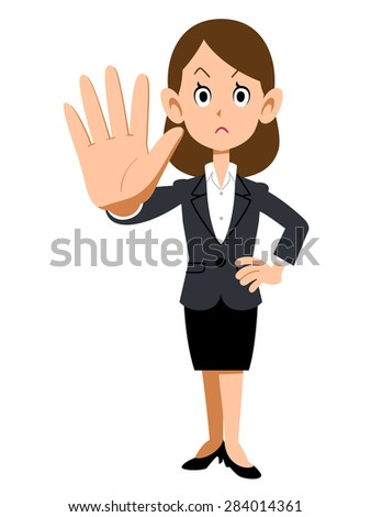 Gesture to stop the women working at the company - stock vector