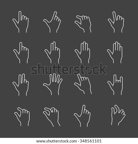 Gestures for touch devices. Simple outlined vector icons for a mobile app user interface or manual. Linear style - stock vector