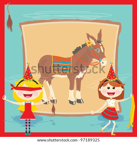 Get back to basics with this super cute Pin the tail on the donkey birthday party invitation. Retro inspired pin the tail on the donkey poster and two cute dizzy girls with blindfolds on the front. - stock vector