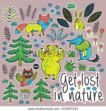 Get Lost In Nature Colorful Hand Drawn Stickers With Crazy Animals Set Of