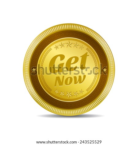 Get Now Golden Vector Icon Button