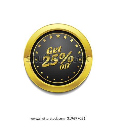 Get 25 Percent Golden Vector Icon Button