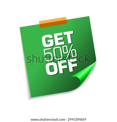 Get 50 Percent Green Sticky Notes Vector Icon Design