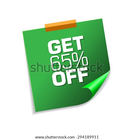 Get 65 Precent Off Green Sticky Notes Vector Icon