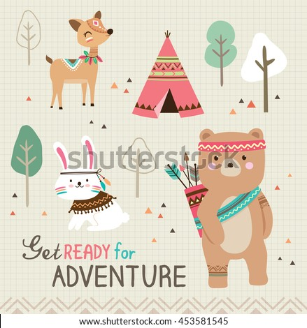 Get ready for adventure. Quote poster with cute tribal animals. - stock vector