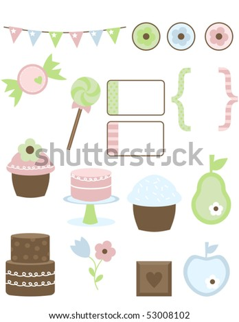 Get ready to give in to your sweet tooth and have a sugar buzz!! This mega set is packed with creative possibilities.  Eighteen total graphics, a GREAT deal!! - stock vector